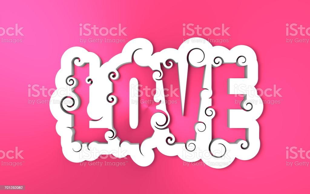 Lettering illustration with Love word. stock photo