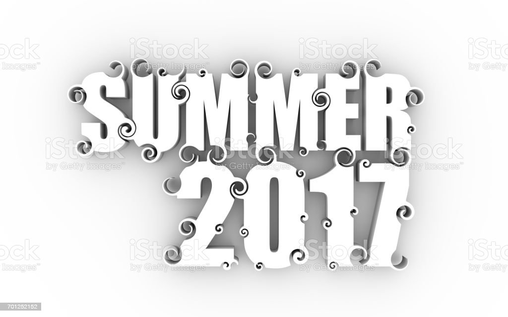 Lettering illustration with summer 2017 text stock photo
