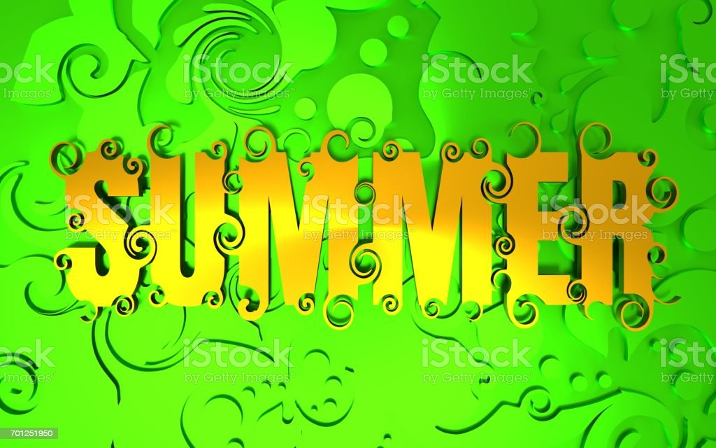 Lettering illustration with word summer. stock photo