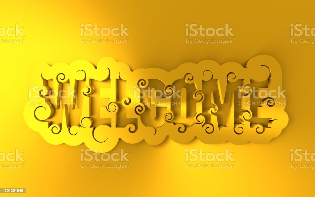 Lettering illustration with word Welcome. stock photo