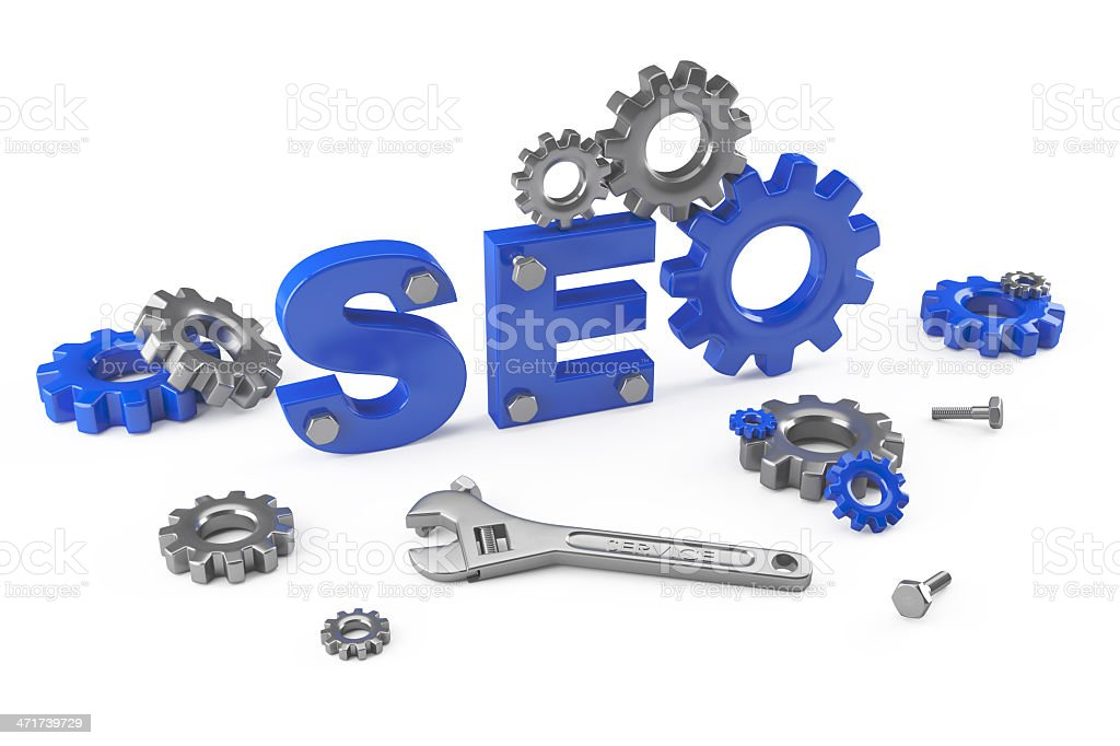 SEO lettering surrounded by tools and gears stock photo