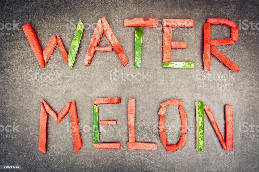 Lettering watermelon. stock photo