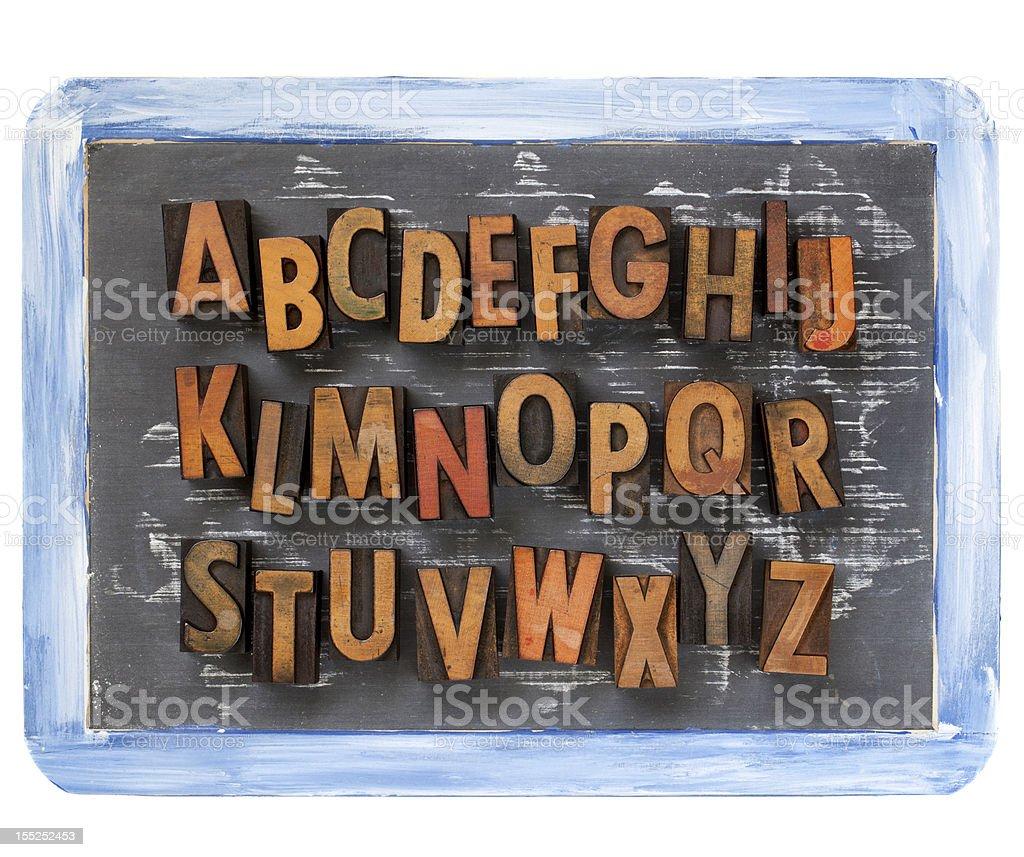 letterpress alphabet on blackboard stock photo