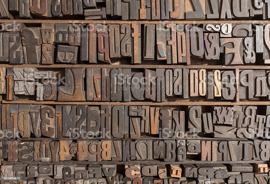 Letterpress alphabet stock photo