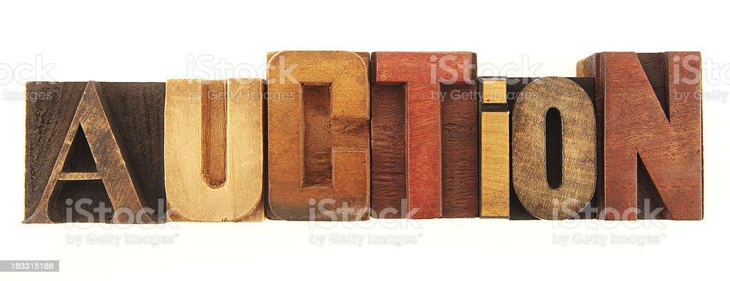 Letterpress - Auction royalty-free stock photo