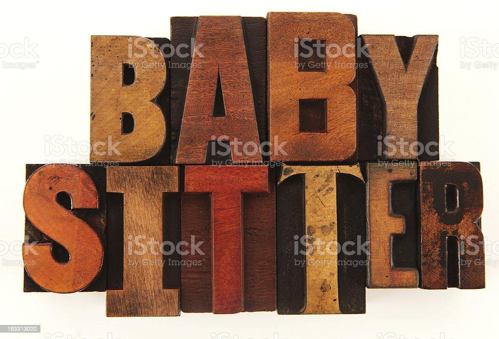 Letterpress - Baby Sitter royalty-free stock photo