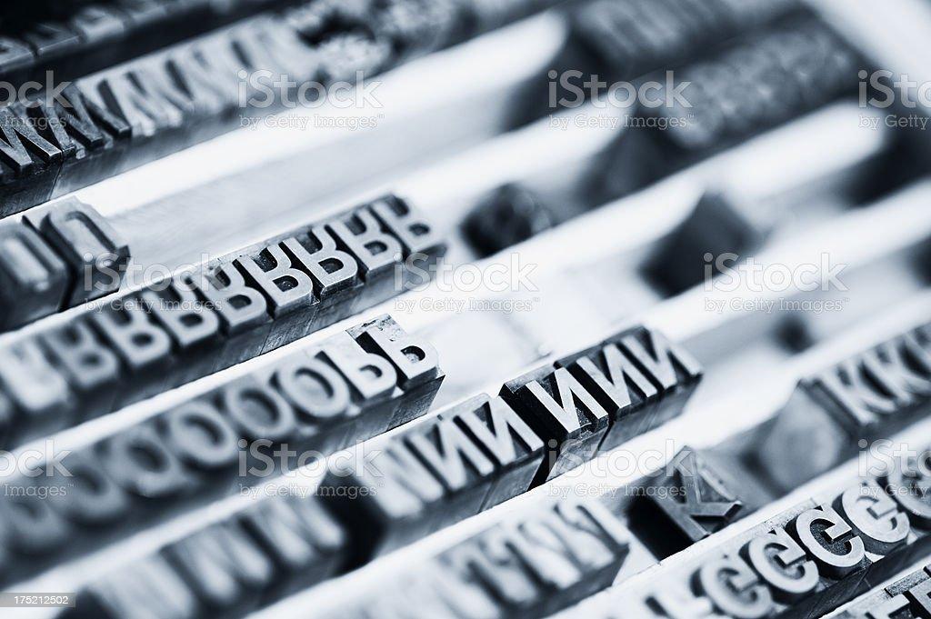Letterpress block letters stock photo