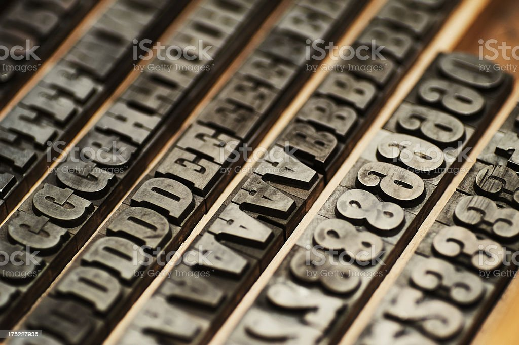 Letterpress block letters royalty-free stock photo