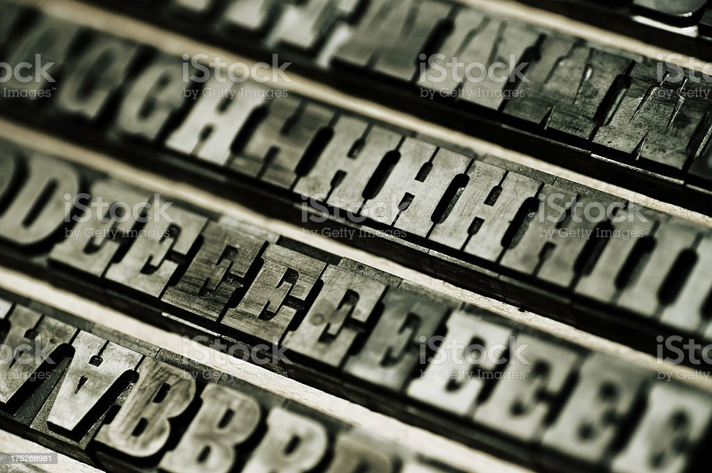 Letterpress block letters royalty-free stock photo