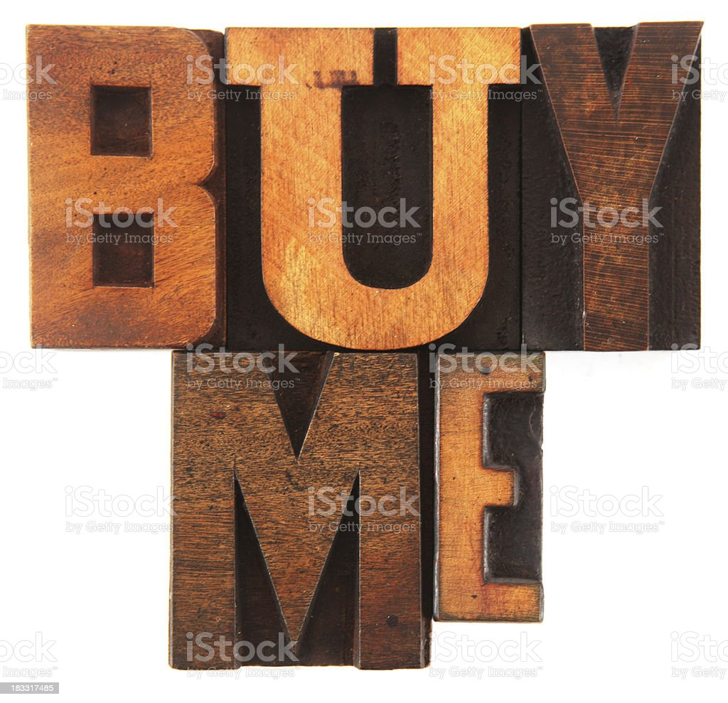 Letterpress - Buy Me stock photo