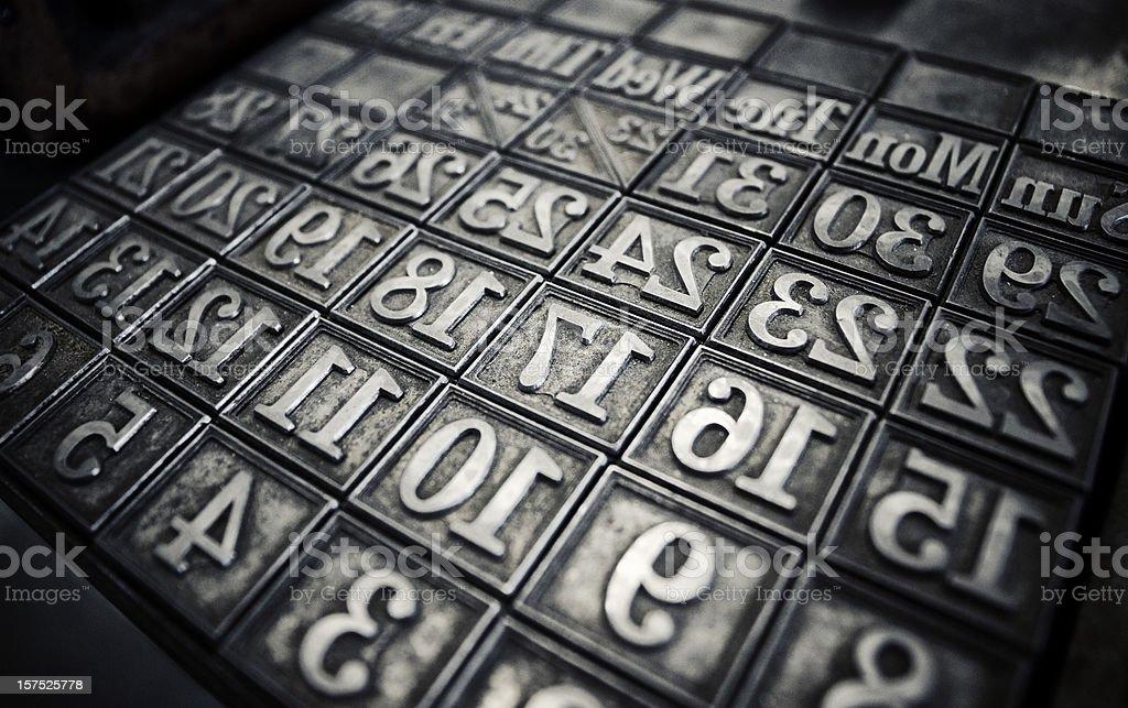 Letterpress calendar forme royalty-free stock photo