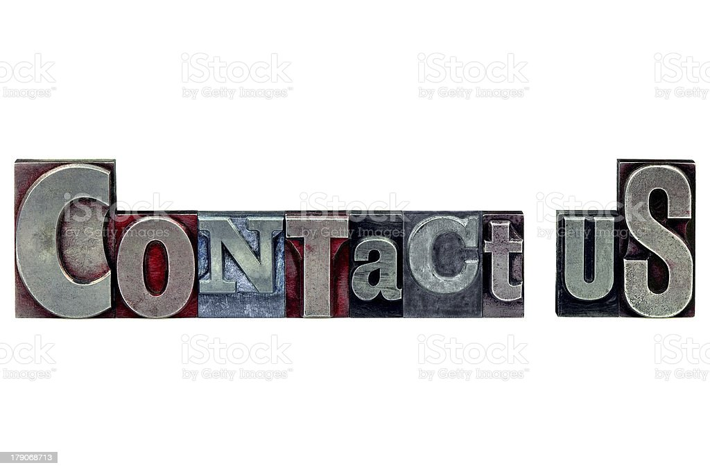 Letterpress Contact Us royalty-free stock photo
