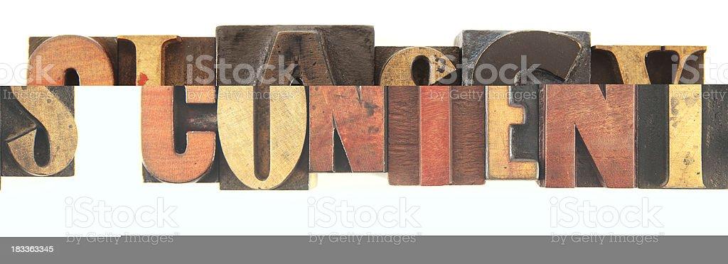 Letterpress - Contents stock photo