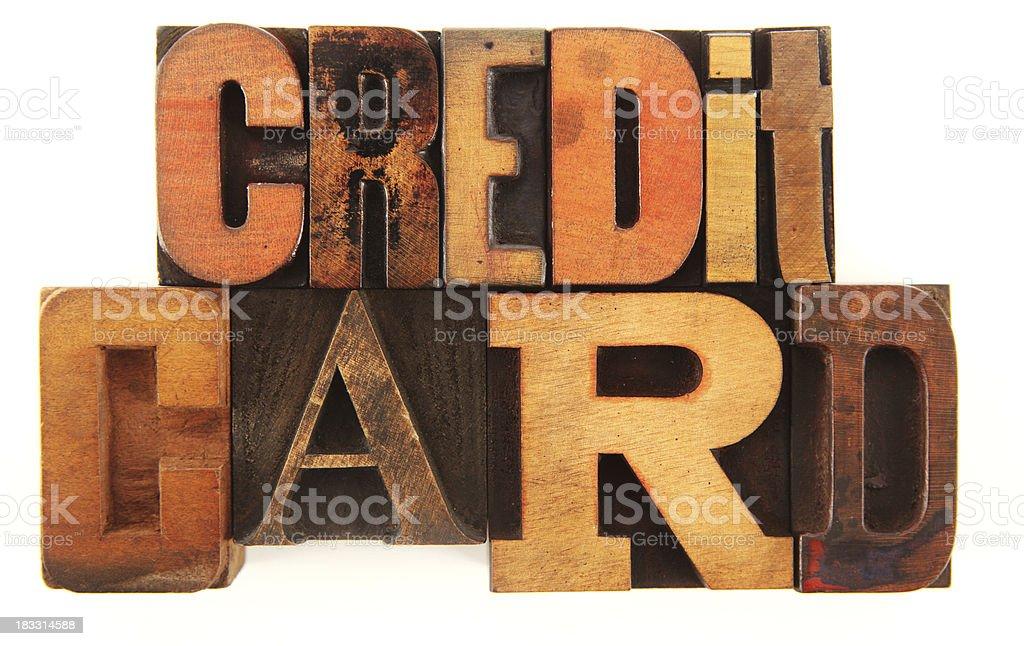 Letterpress - Credit Card stock photo