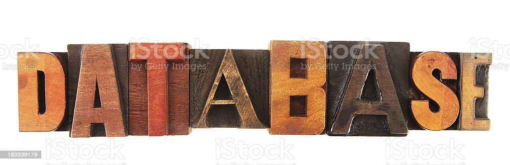 Letterpress - Database stock photo