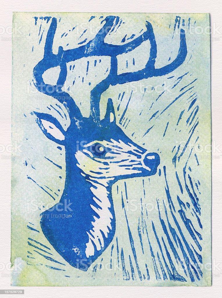 Letterpress deer royalty-free stock photo