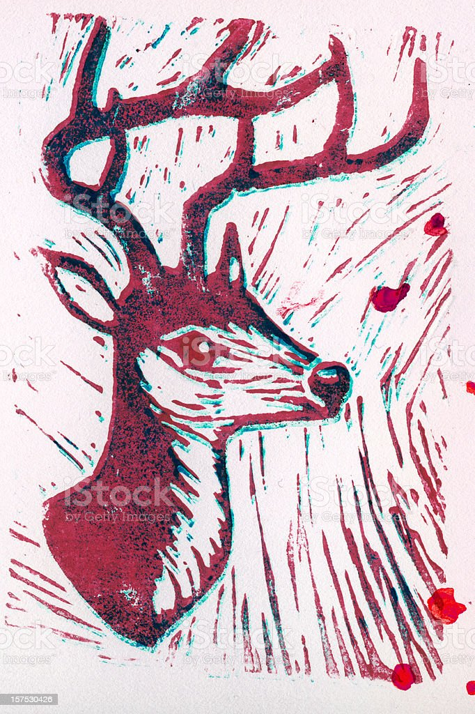 Letterpress deer royalty-free stock photo
