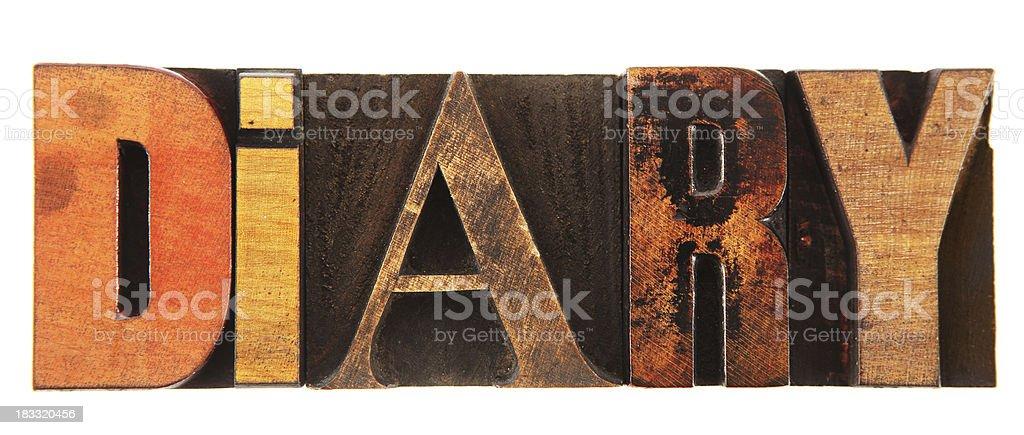 Letterpress - Diary stock photo