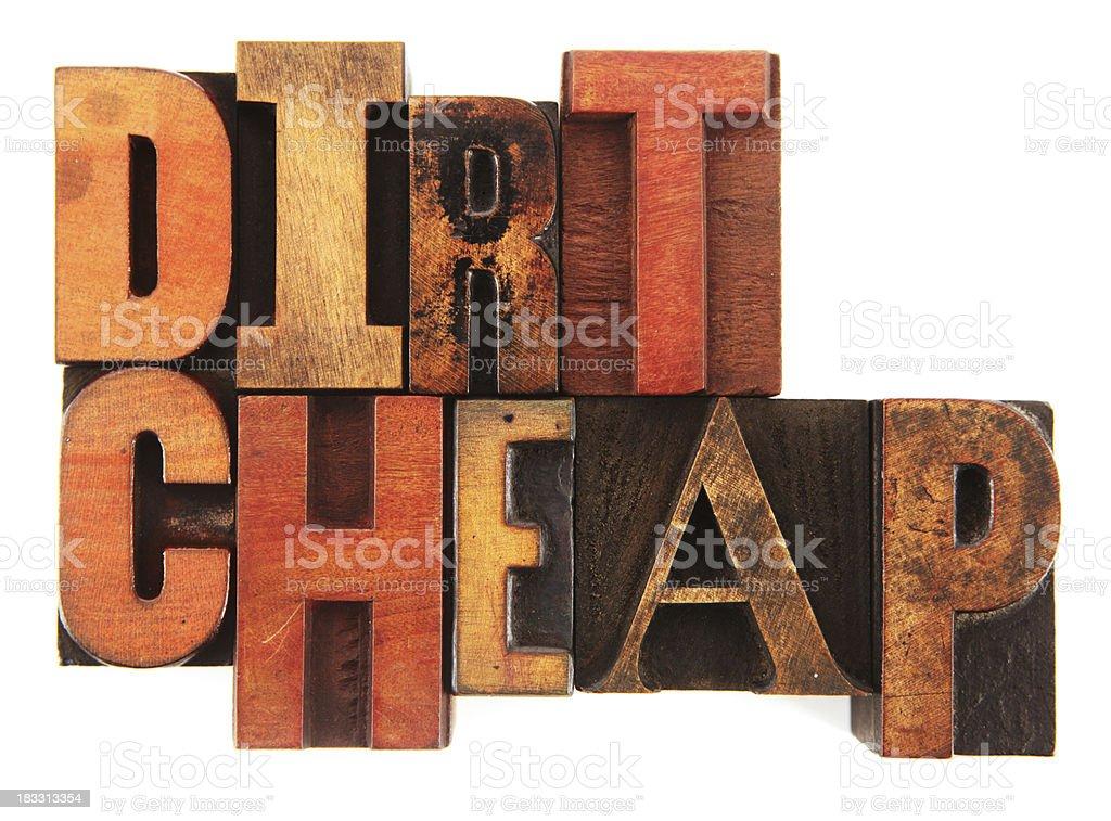 Letterpress - Dirt Cheap stock photo