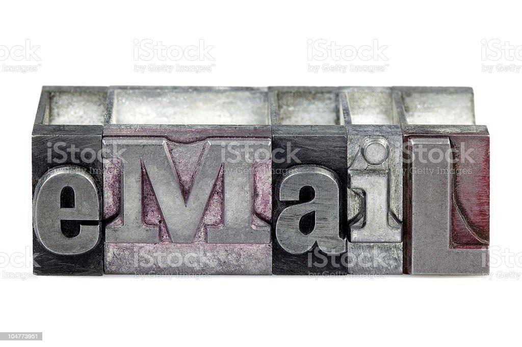 Letterpress eMail stock photo
