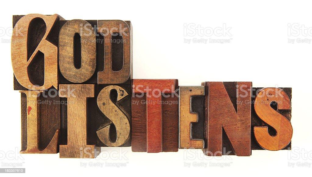 Letterpress - God Listens royalty-free stock photo