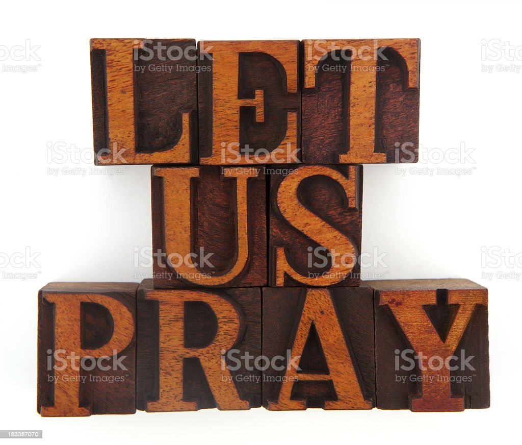 Letterpress - Let Us Pray royalty-free stock photo