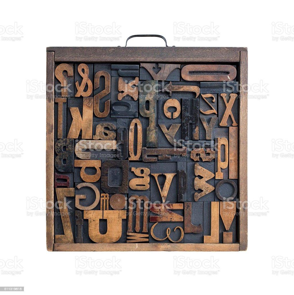Letterpress letter drawer stock photo