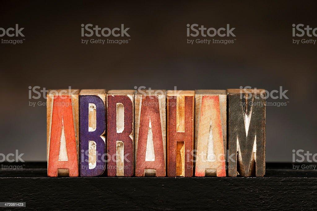 Letterpress Letters: Abraham stock photo
