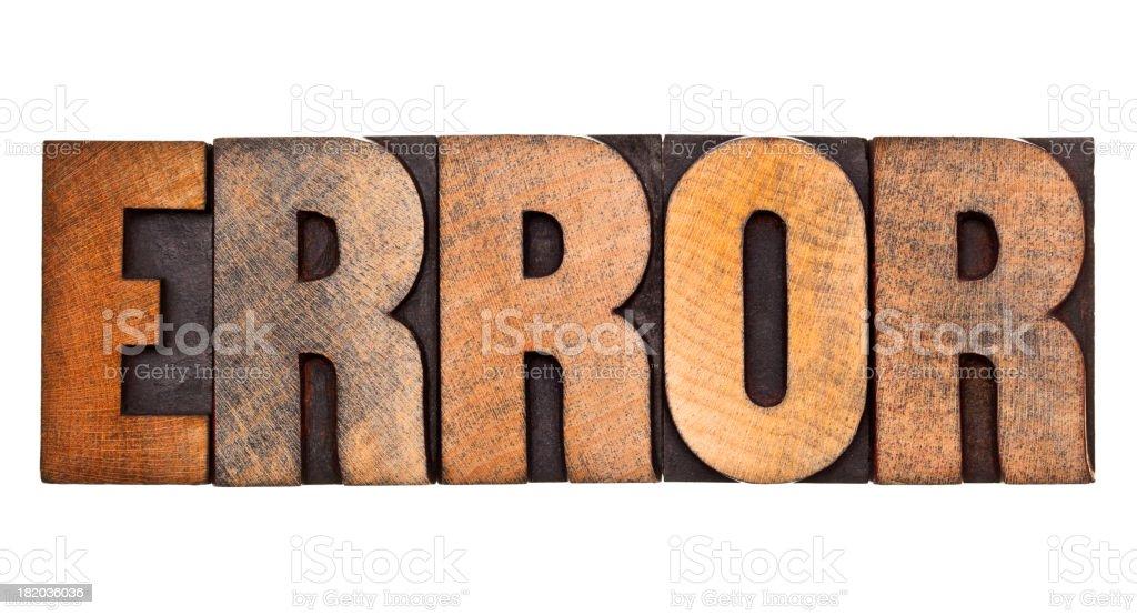 ERROR- Letterpress Letters stock photo
