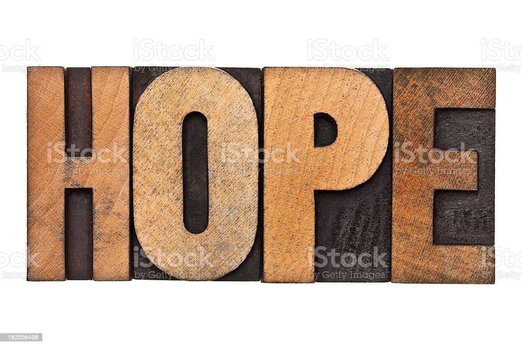 HOPE - Letterpress Letters royalty-free stock photo