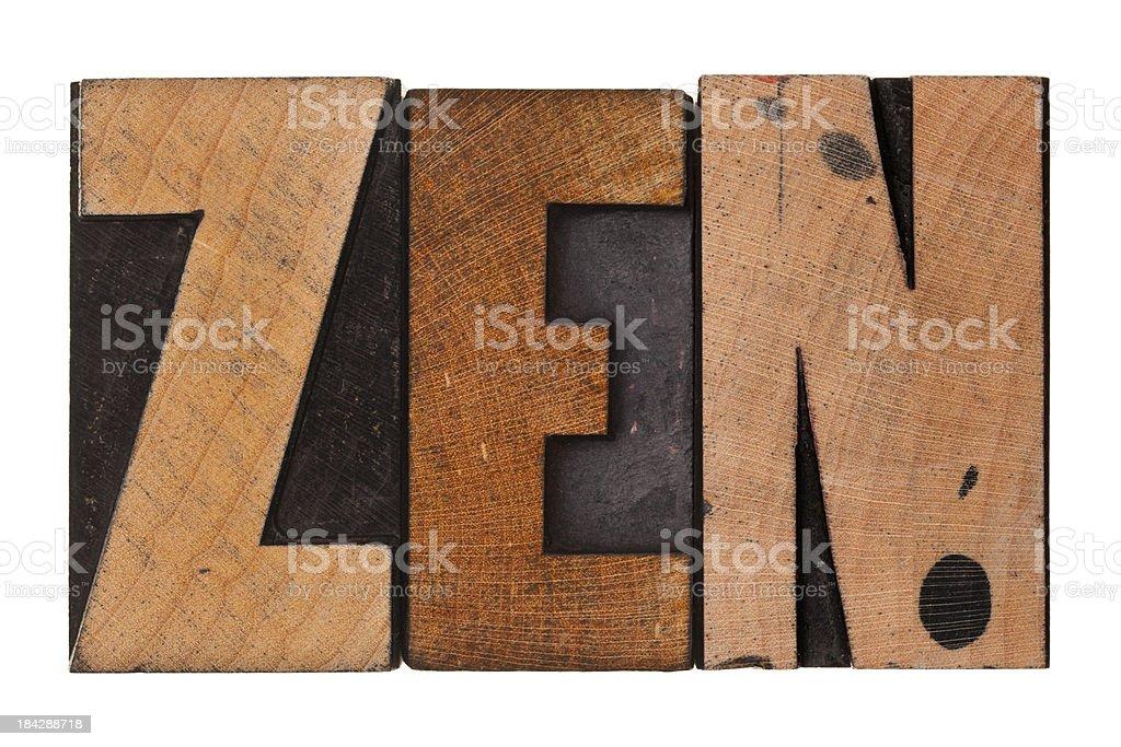 ZEN - Letterpress Letters stock photo