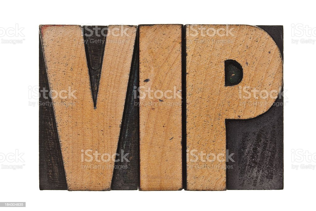 VIP - Letterpress Letters royalty-free stock photo