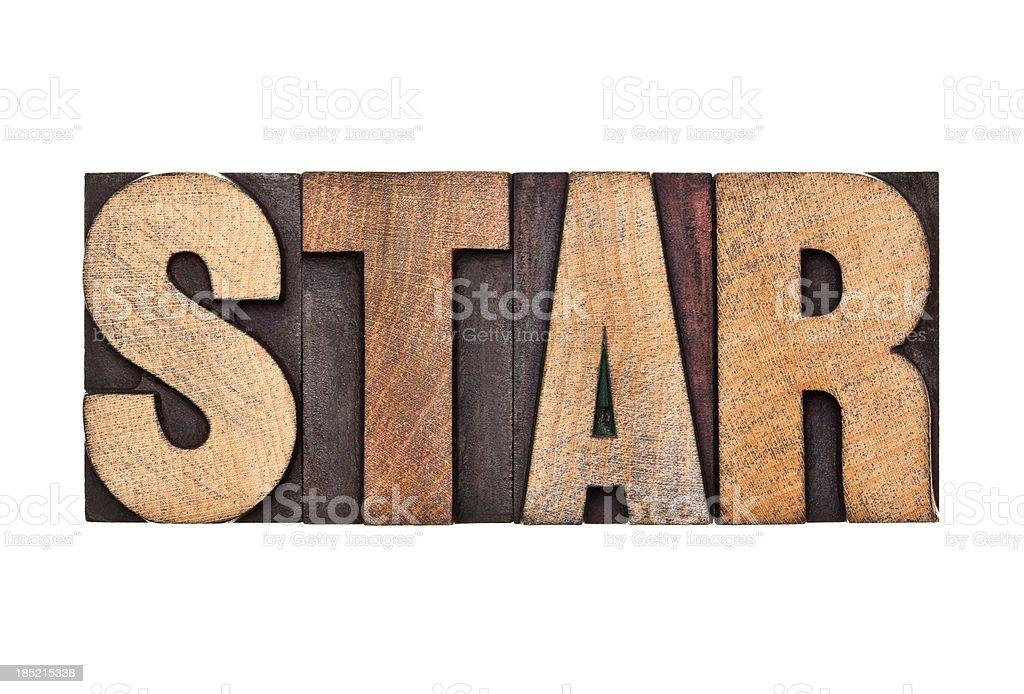 STAR - Letterpress Letters stock photo