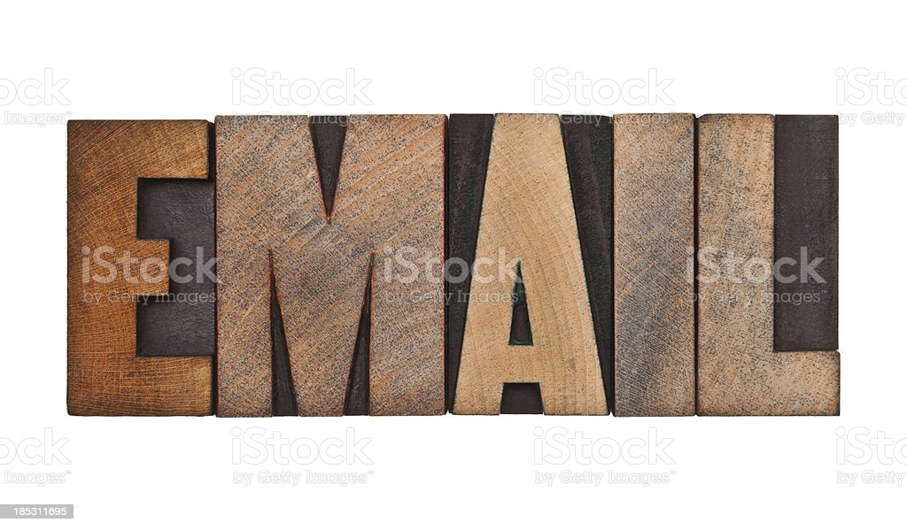 EMAIL - Letterpress Letters royalty-free stock photo