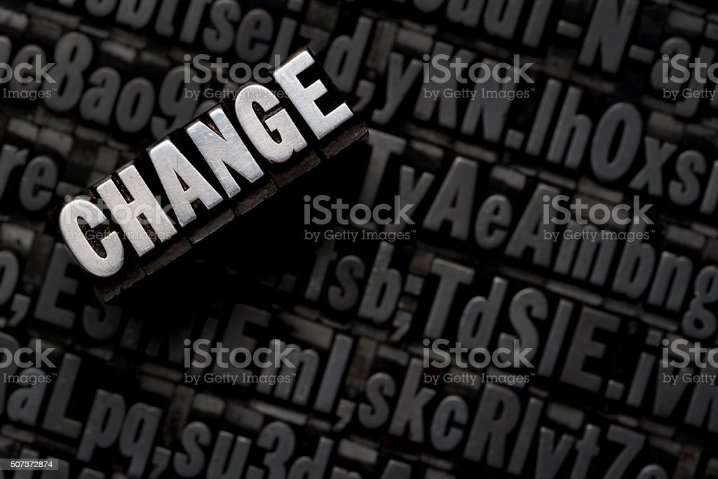 CHANGE - letterpress letters stock photo