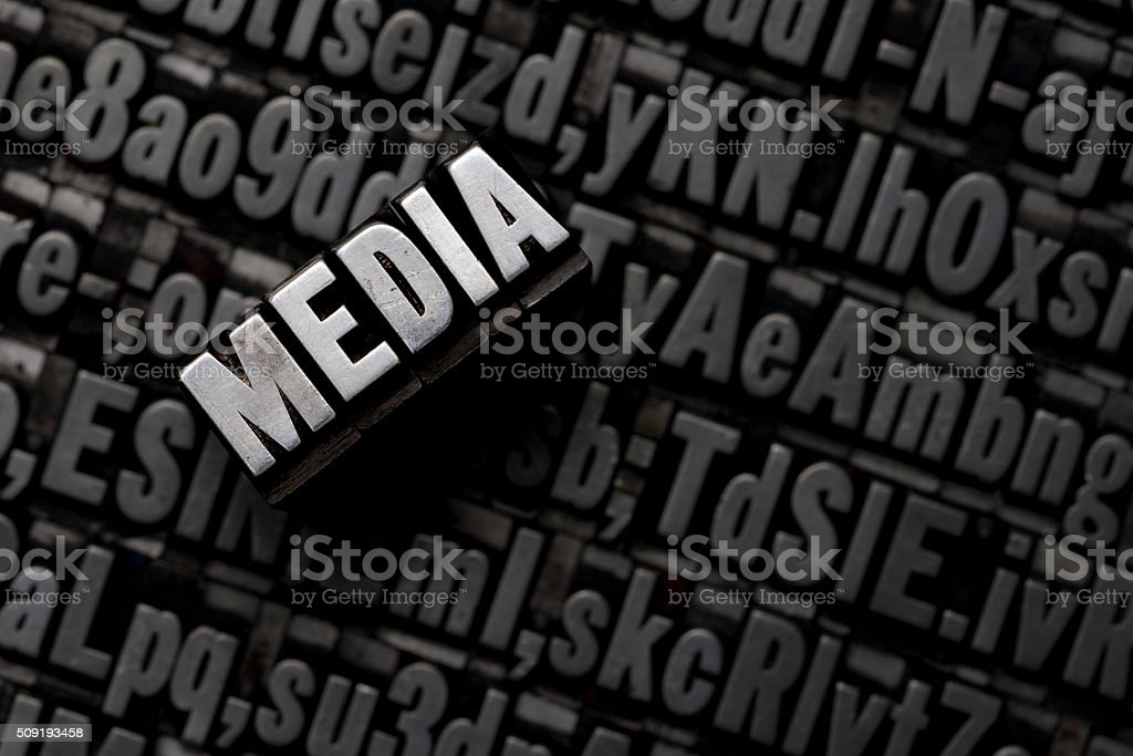 MEDIA - Letterpress letters stock photo