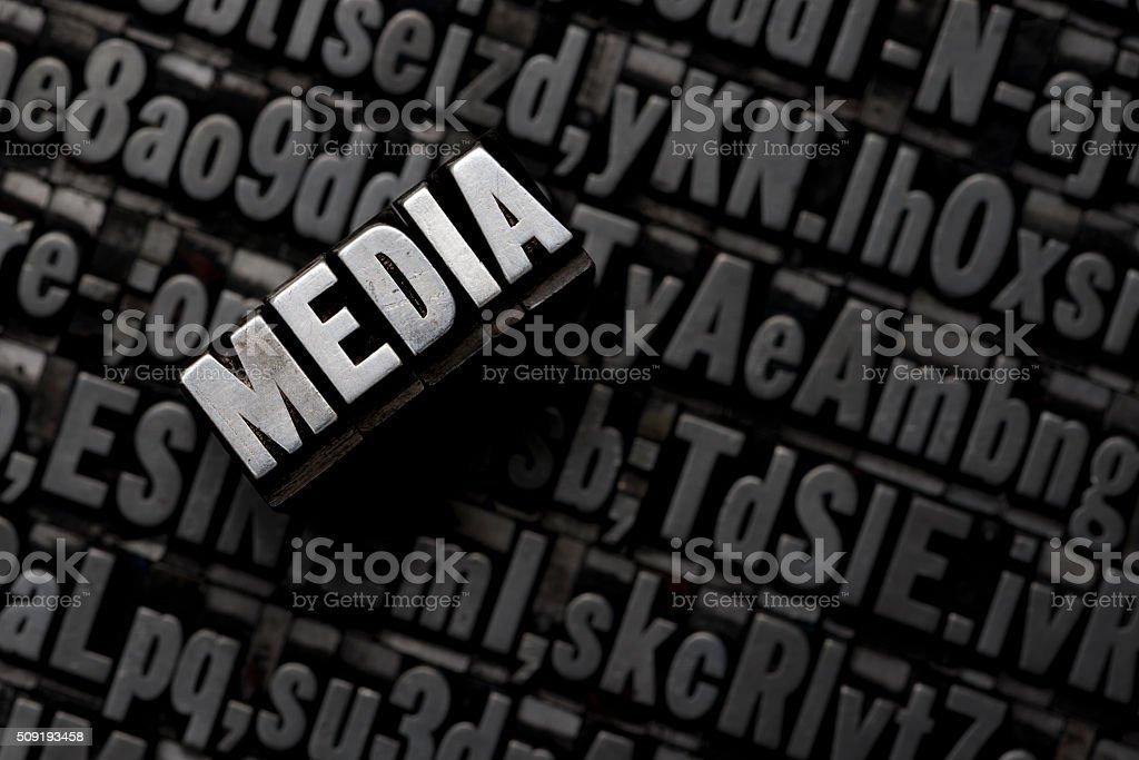 MEDIA - Letterpress letters stock photo