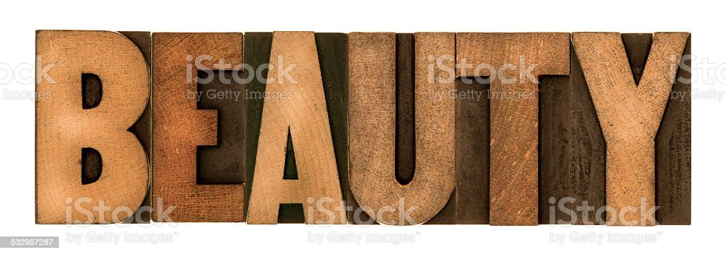 BEAUTY - Letterpress Letters stock photo