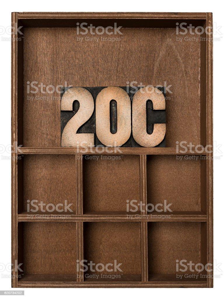 20C - Letterpress letters stock photo