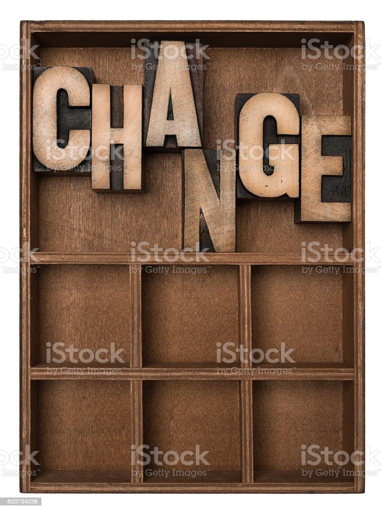 CHANGE - Letterpress letters stock photo
