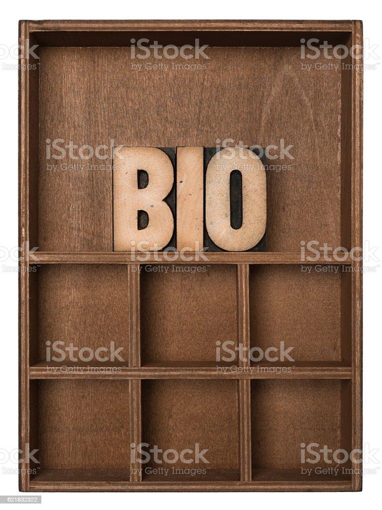 BIO - Letterpress letters stock photo