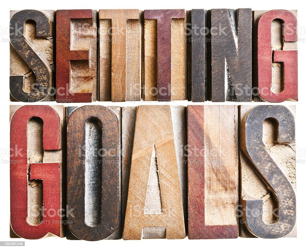 Letterpress Letters: Setting Goals stock photo