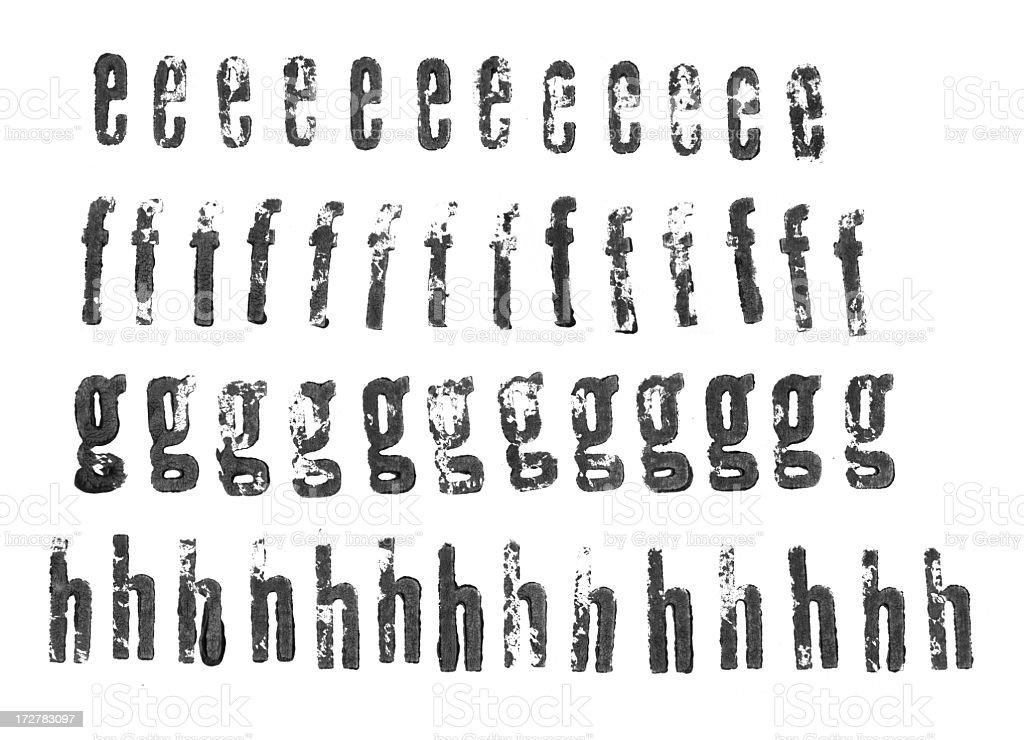 Letterpress lowercase alphabets - e to h stock photo