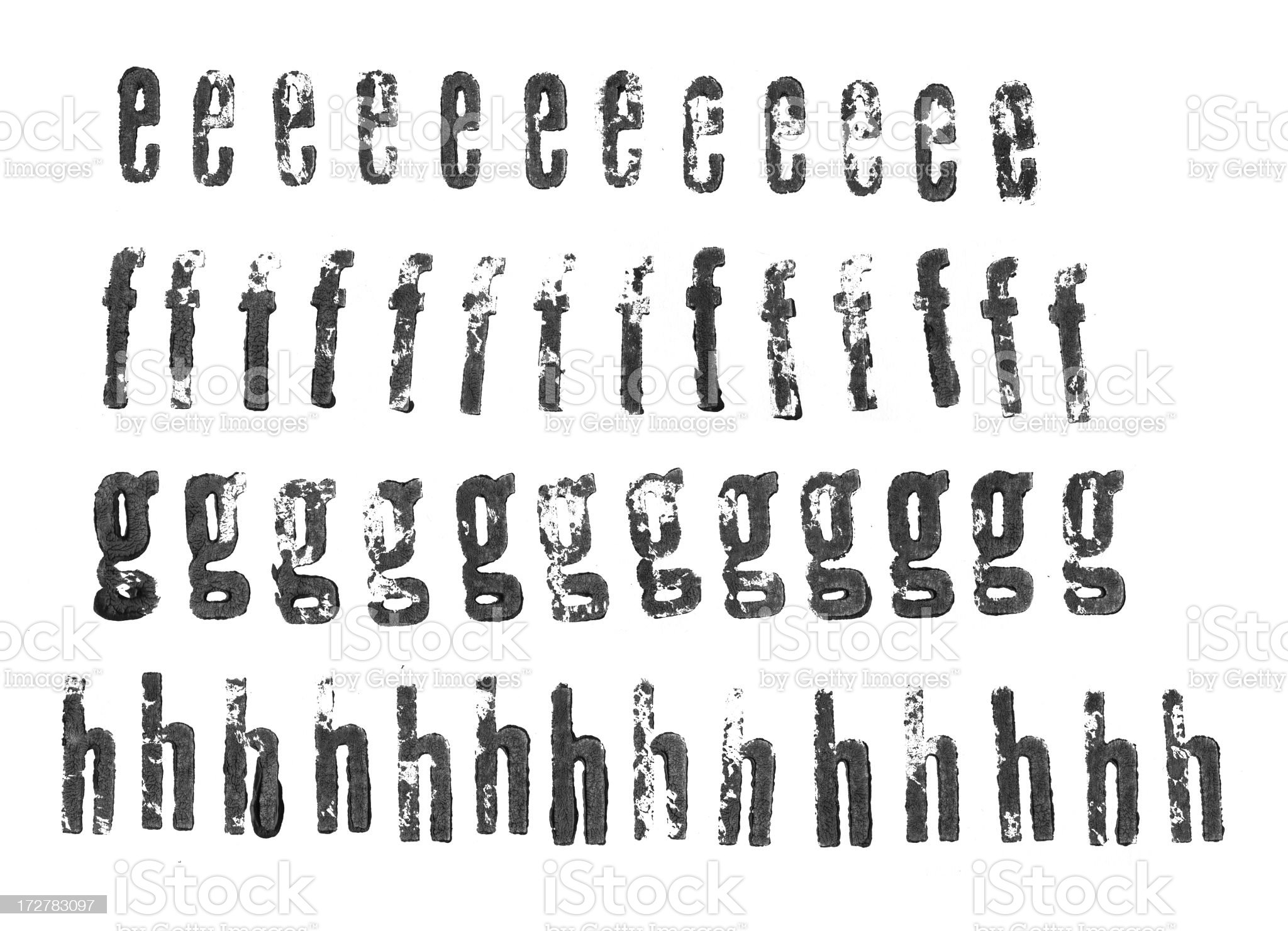 Letterpress lowercase alphabets - e to h royalty-free stock photo