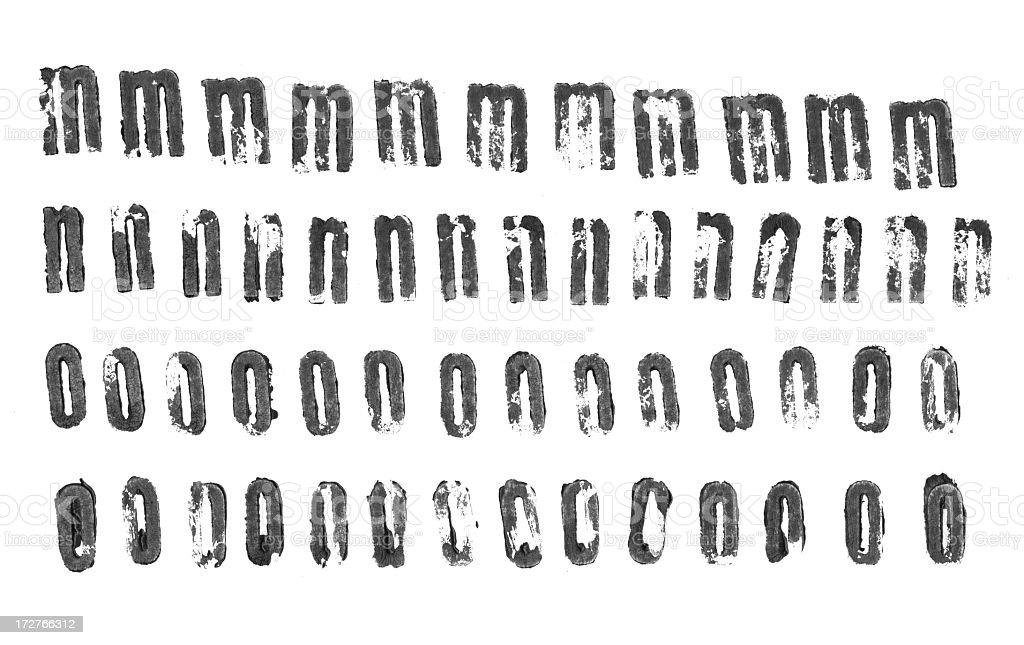 Letterpress lowercase alphabets - m to o stock photo