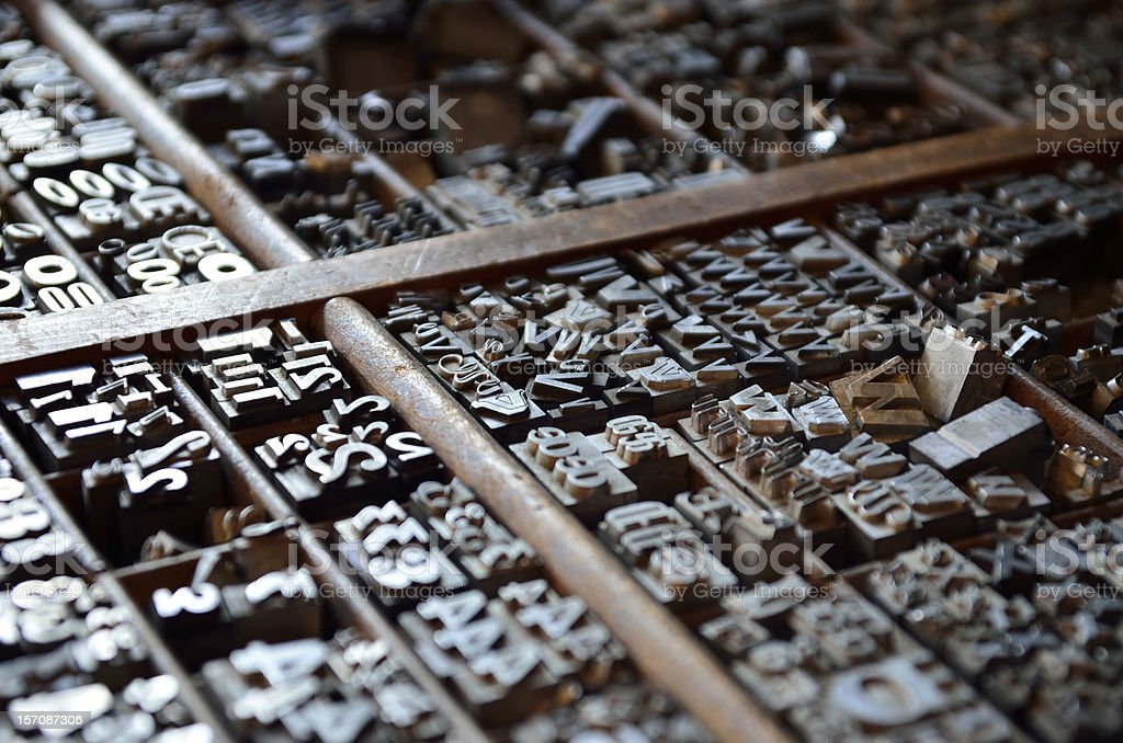 Letterpress numbers and letters stock photo