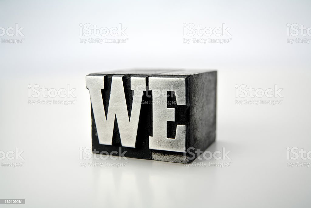 WE  letterpress royalty-free stock photo
