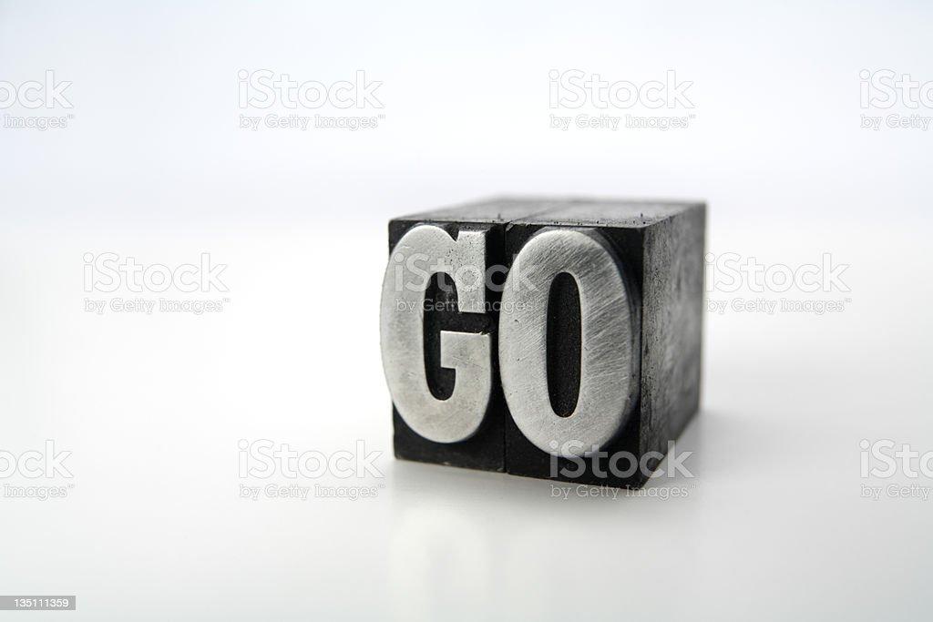 GO letterpress royalty-free stock photo