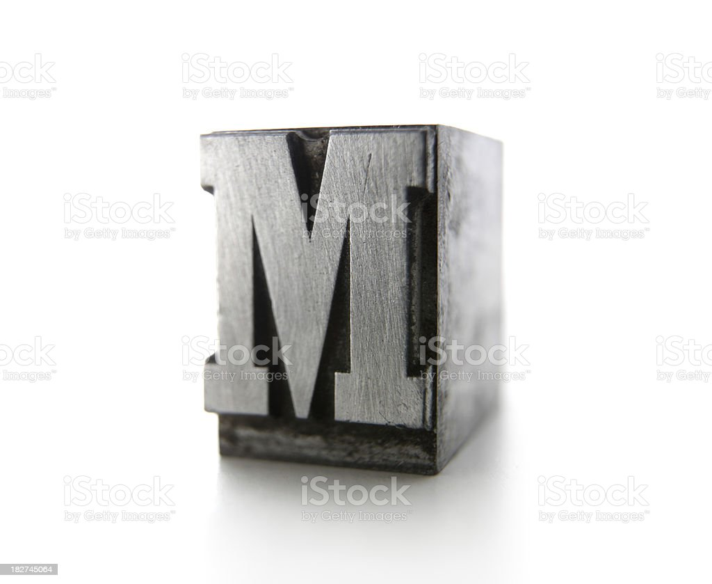 M letterpress royalty-free stock photo