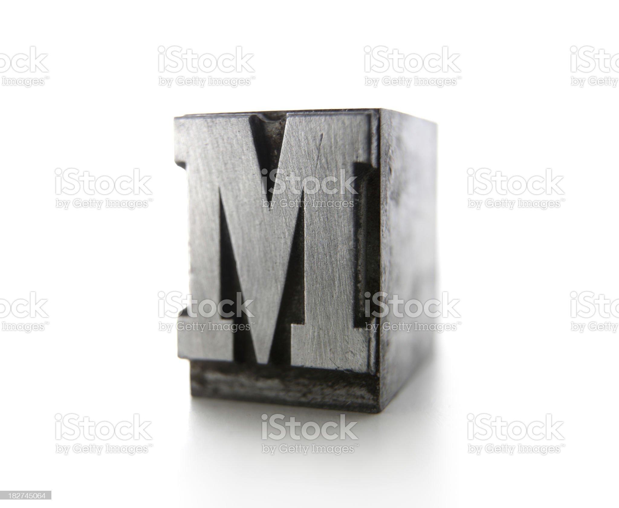 M letterpress royalty-free stock photo